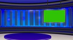 News TV Studio Set 22 - Virtual Green Screen Background Loop - stock footage