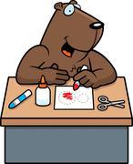 cartoon groundhog crafts - stock illustration