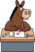 cartoon donkey crafts - stock illustration