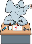 cartoon elephant crafts - stock illustration