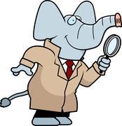 cartoon elephant detective - stock illustration