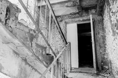 Abandoned staircase in the exclusion zone - stock photo