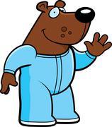 cartoon bear pajamas - stock illustration
