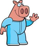 cartoon pig pajamas - stock illustration