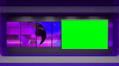 News TV Studio Set 31 - Virtual Green Screen Background Loop - stock footage
