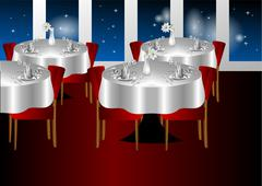 restaurant night indoors - stock illustration
