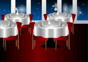 Stock Illustration of restaurant night indoors