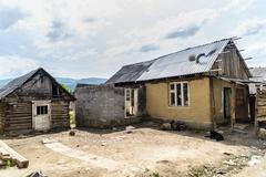 gypsy village in ukraine - stock photo