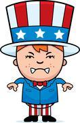 angry patriotic boy - stock illustration