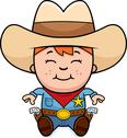 Stock Illustration of sitting little cowboy