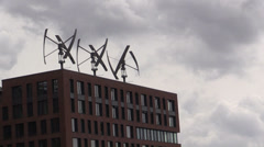Wind turbines on the roof of a building Stock Footage