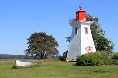 P.E.I. lighthouse and boat - stock photo