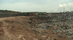 Wide shot Lagos rubbish / waste dump - stock footage