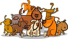 Stock Illustration of Cartoon Group of Cute Dogs
