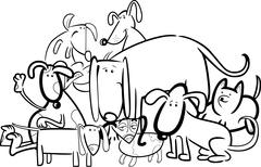 Stock Illustration of Cartoon Group of Dogs for Coloring
