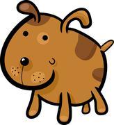 cartoon illustration of cute spotted dog - stock illustration
