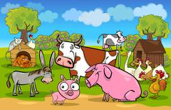 cartoon rural scene with farm animals - stock illustration