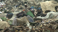 Man with Nigerian flag and garbage Stock Footage