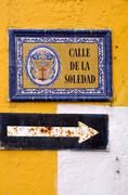 Street of solitude - old pointer in cartagena, colombia Stock Photos