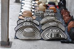 sombreros volteados - typical colombian hats on the marketplace, cartagena, c - stock photo
