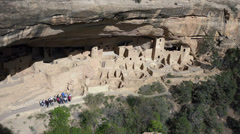 Mesa Verde Cliff Palace Indian Cliff Dwelling tourist ranger HD 088 Stock Footage