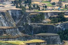 Fields of zumbahua in ecuadorian altiplano. highland andes near quilotoa lago Stock Photos