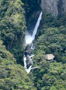 amazonian waterfall in the andes. banos. ecuador - stock photo