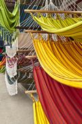 hammocks, market place in ecuador - stock photo