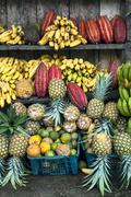 latin america fruit street market, ecuador - stock photo