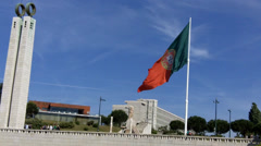 Portuguese Flag at Eduardo VII Park Stock Footage