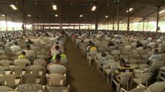 Top shot, congregation, Nigerian mega church Stock Footage