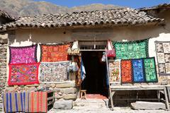 Traditional woven fabrics for sale at a tourist spot in the high andes, ollan Stock Photos