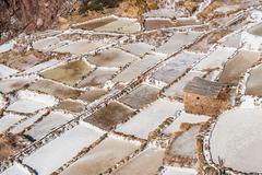 Salinas de maras, the traditional inca salt field in maras near cuzco in sacr Stock Photos