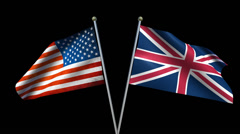 Two patriotic flags blowing in the wind of USA vs England Stock Footage