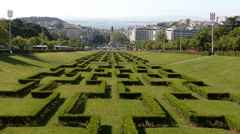 View of Marques do Pombal from Top of Eduardo VII Park - stock footage