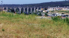 Lisbon aqueduct , seen from far Away - stock footage