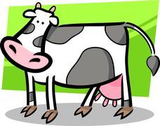 cartoon doodle of farm cow - stock illustration
