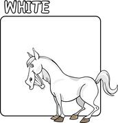 Color White and Horse Cartoon - stock illustration