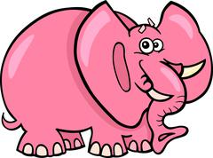 Stock Illustration of Pink Elephant Cartoon