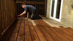 Fast time-lapse varnishing oiling protecting decking Stock Footage