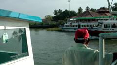 India Kerala Kochi Cochin City 056 backwaters, arriving a boat pier - stock footage