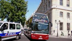 Hop on hop off bus in Paris Stock Footage