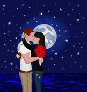 couple at night - stock illustration