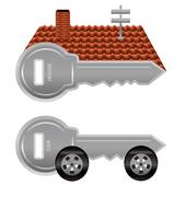 house and car keys - stock illustration