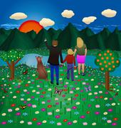 family forest - stock illustration