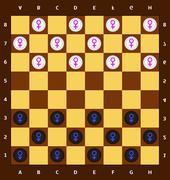Male and female checkers Stock Illustration