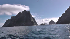 Isle of Boreray St Kilda viewed from boat Scotland Stock Footage