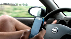 Distracted Texting Driver Stock Footage