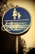 Bicycle leaving sign, composite - stock illustration