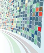Stock Illustration of abstract perspective grey-green mozaic background